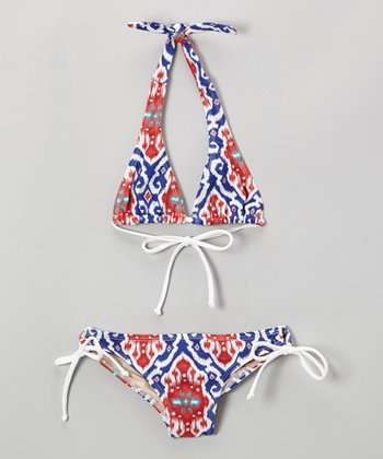 Blue & Red Ikat Mack B Bikini - Girls