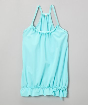 Aqua Bubble Racerback Cover-Up - Girls
