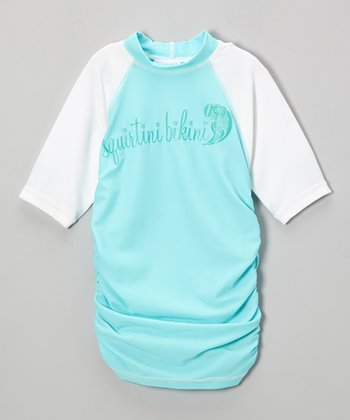 Aqua & Green Ruched Rashguard - Girls