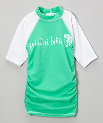Seafoam & White Ruched Rashguard - Girls