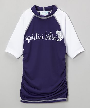 Cosmic Blue & White Ruched Rashguard - Girls