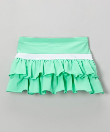 Mint & White Tiered Ruffle Skirt - Toddler & Girls