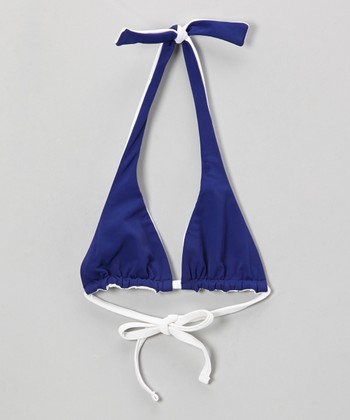 Cosmic Blue & White Reversible Halter Triangle Bikini Top - Girls