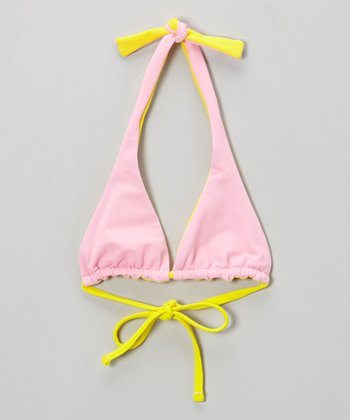 Pink & Yellow Reversible Triangle Bikini Top - Girls