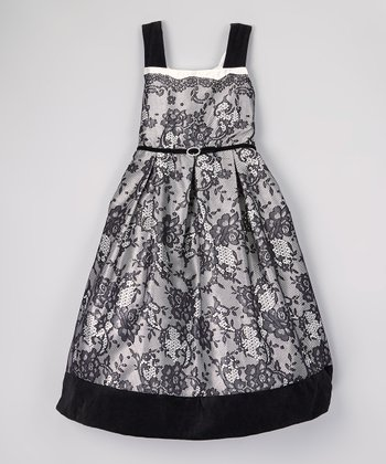 Black & Ivory Lace Dress - Girls