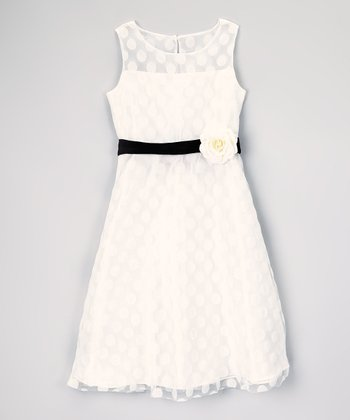 Ivory Polka Dot Flower Dress - Girls