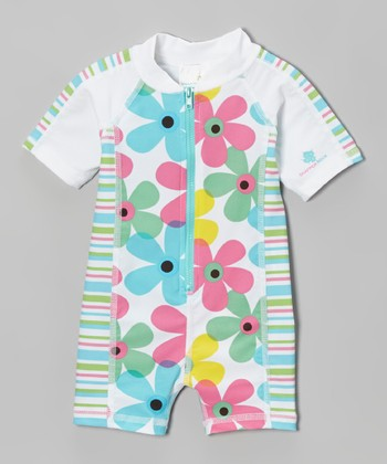 Pink & Turquoise Floral One-Piece Rashguard - Infant