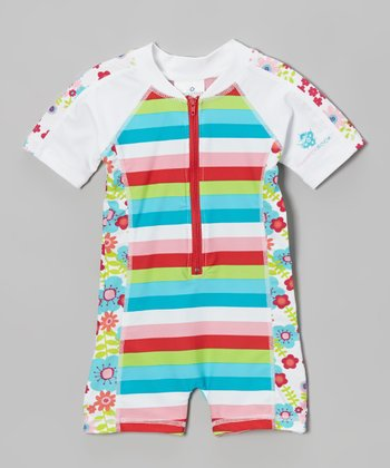 Pink & Turquoise Stripe Floral One-Piece Rashguard - Infant