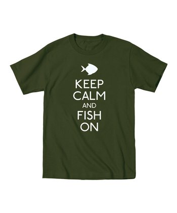 Military Green 'Keep Calm and Fish On' Tee - Men