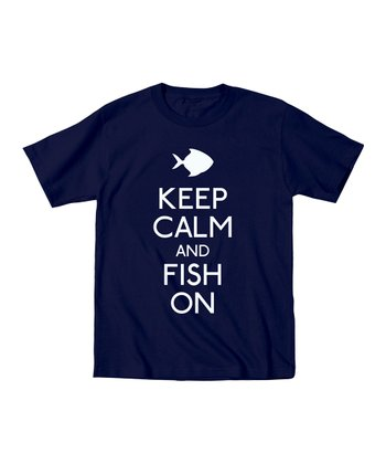 Navy 'Keep Calm and Fish On' Tee - Men