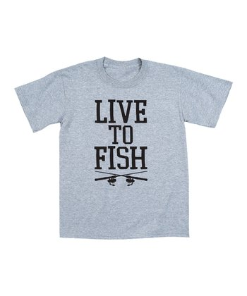 Athletic Heather 'Live to Fish' Tee - Men