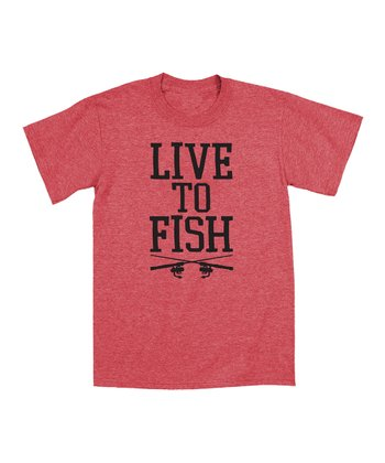 Red Heather 'Live to Fish' Tee - Men