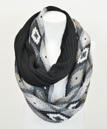 Leto Collection Black Ribbed Geometric Infinity Scarf