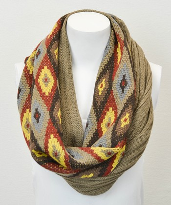 Brown Ribbed Geometric Infinity Scarf