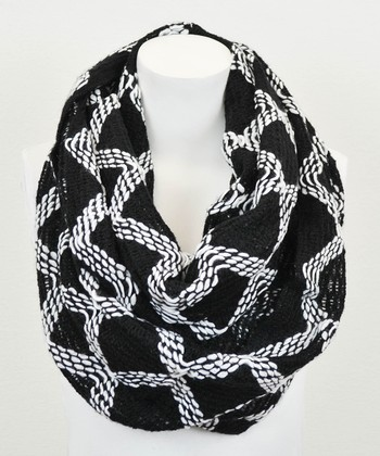 Leto Collection White & Black Diamond Infinity Scarf