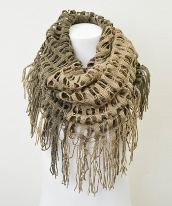 Leto Collection Mocha Two-Tone Tassel Infinity Scarf