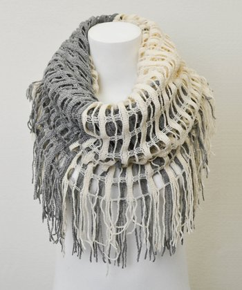 Leto Collection Ivory Two-Tone Tassel Infinity Scarf