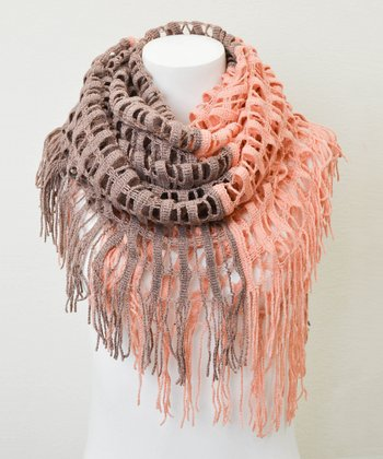 Leto Collection Rose Two-Tone Tassel Infinity Scarf