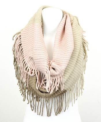 Leto Collection Peach & Oatmeal Tri-Tone Infinity Scarf