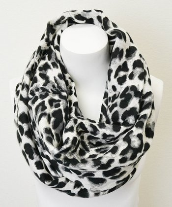 Leto Collection Black & White Leopard Infinity Scarf