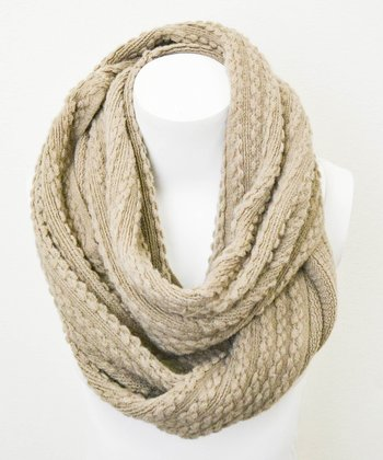 Leto Collection Mocha Braid Cable Knit Infinity Scarf