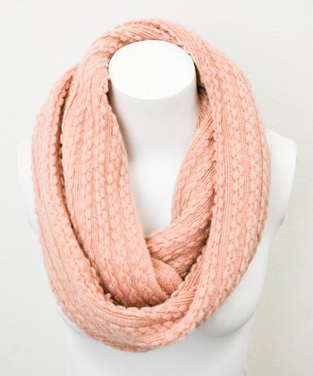 Leto Collection Peach Braid Cable Knit Infinity Scarf