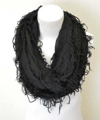 Leto Collection Black Shredded Infinity Scarf