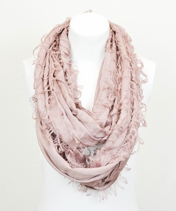 Leto Collection Mauve Shredded Infinity Scarf