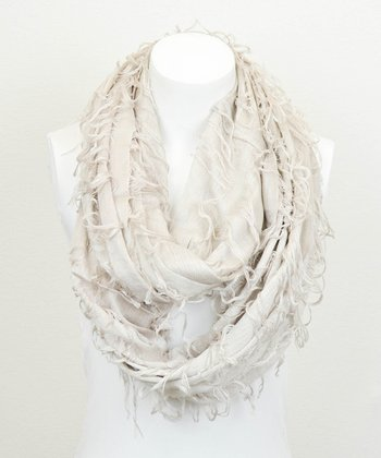 Leto Collection Oatmeal Shredded Infinity Scarf