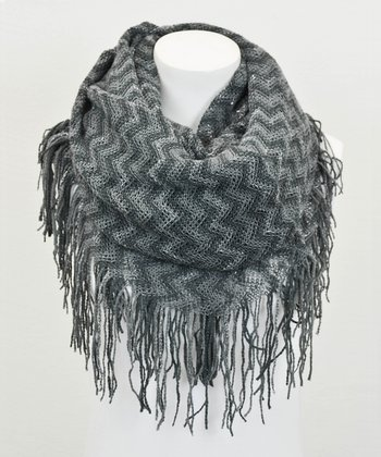 Leto Collection Gray Zigzag Tube Tassel Infinity Scarf