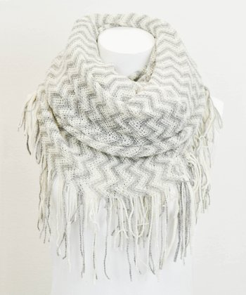 Leto Collection Ivory Zigzag Tube Tassel Infinity Scarf