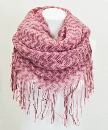 Leto Collection Pink Zigzag Tube Tassel Infinity Scarf