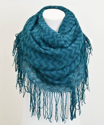 Leto Collection Teal Zigzag Tube Tassel Infinity Scarf