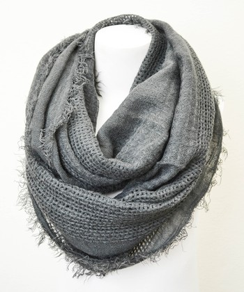 Leto Collection Gray Open Grid Infinity Scarf