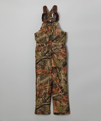 Green Camouflage Waterproof Bib Pants - Boys