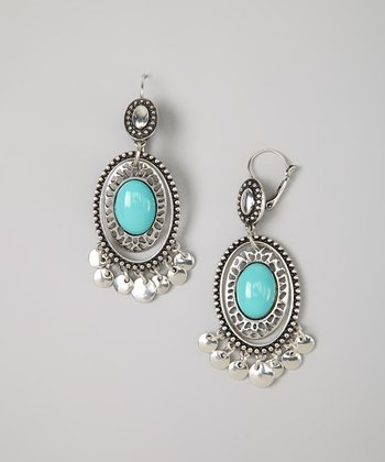 Silver & Turquoise Oval Lever-Back Earrings