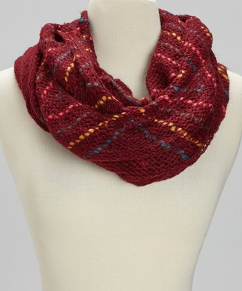 Red Chevron Stripe Infinity Scarf