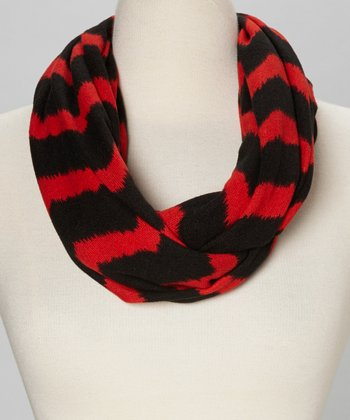 Red & Black Zigzag Infinity Scarf