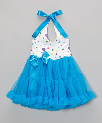 Turquoise Polka Dot Halter Dress - Infant, Toddler & Girls