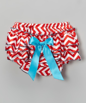 Red & White Bow Zigzag Ruffle Diaper Cover - Infant & Toddler