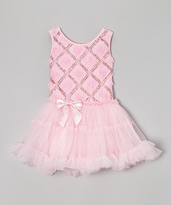 Light Pink Rosette Dress - Infant & Girls