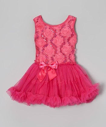 Hot Pink Rosette Dress - Infant, Toddler & Girls
