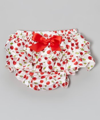 White Cherry Ruffle Silky Diaper Cover - Infant & Toddler