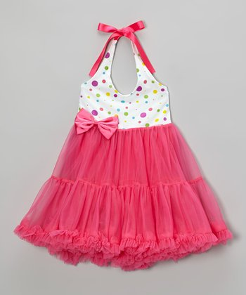 Fuchsia Polka Dot Halter Dress - Infant, Toddler & Girls