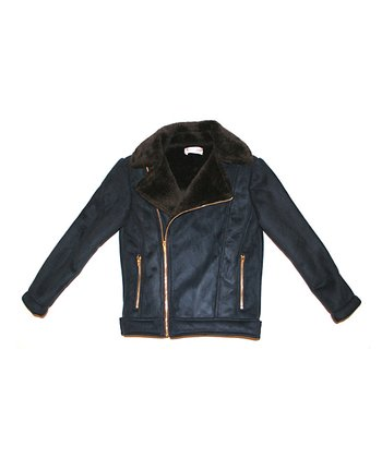 Blue & Brown Biker Coat - Toddler & Girls