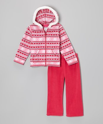 Pink Snowflake Fleece Zip-Up Hoodie & Pants - Infant