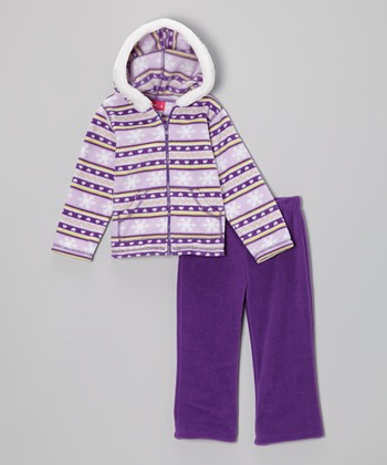 Purple Snowflake Fleece Zip-Up Hoodie & Pants - Infant & Toddler