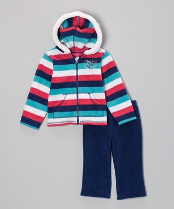 Pink & Navy Fleece Zip-Up Hoodie & Pants - Infant & Toddler