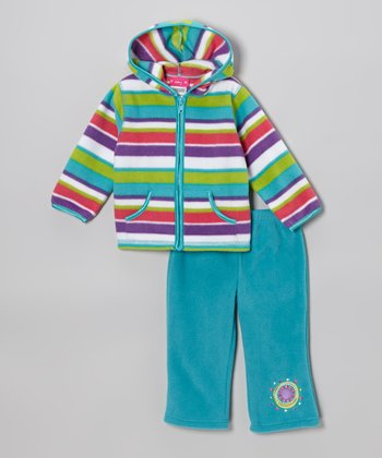 Teal & Purple Fleece Zip-Up Hoodie & Pants - Infant & Toddler