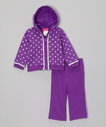 Purple & Silver Polka Dot Fleece Zip-Up Hoodie & Pants - Infant